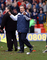 NEIL WARNOCK MANAGER SHEFFIELD UNITED WONDERS IF IT'S THE FINAL WHISTLE..<br />SHEFFIELD UNITED V LEEDS UNITED F/A CUP 6TH ROUND 09/03/03<br />PHOTO ROBIN PARKER FOTOSPORTS INTERNATIONAL