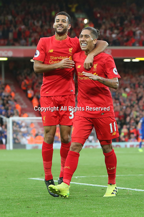10.09.2016. Anfield, Liverpool, England. Premier League Football. Liverpool versus Leicester. Roberto Firmino of Liverpool and Kevin Stewart of Liverpool celebrate Firminho's second goal.