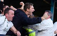Photo: Alan Crowhurst.<br />Southend Utd v Swansea City. Coca Cola League 1.<br />12/11/2005. Swansea fans celebrate the Lee Trundle opener.