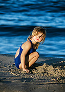 Girl plays at the beach, Cape Cod