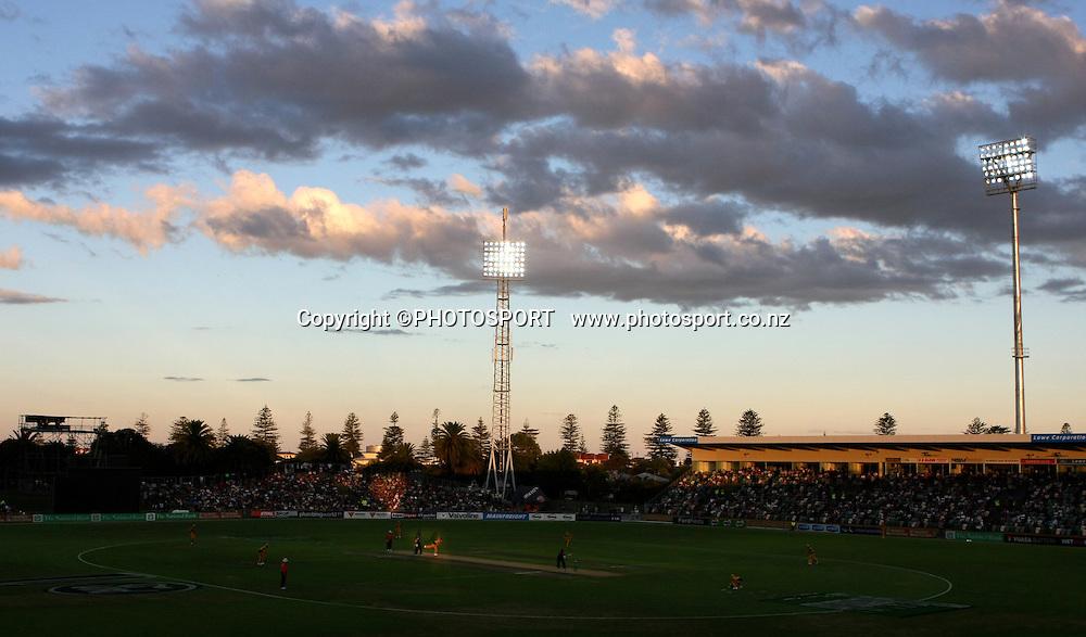 General view of McLean Park at dusk. New Zealand Black Caps v Australia. 1st ODI, Chappell-Hadlee Trophy Series. McLean Park, Napier. Wednesday 03 March 2010  Photo: John Cowpland/PHOTOSPORT