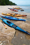 Sea kayaks in and along Lake Superior, Pictured Rocks National Lakeshoe, Michigan, US