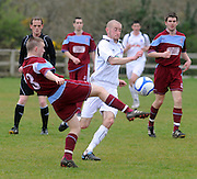 Peter Nolan Cobh Ramblers and Paul Smith Galway United in Cappa Park in Knocknacarra, GAlway. Photo:Andrew Downes