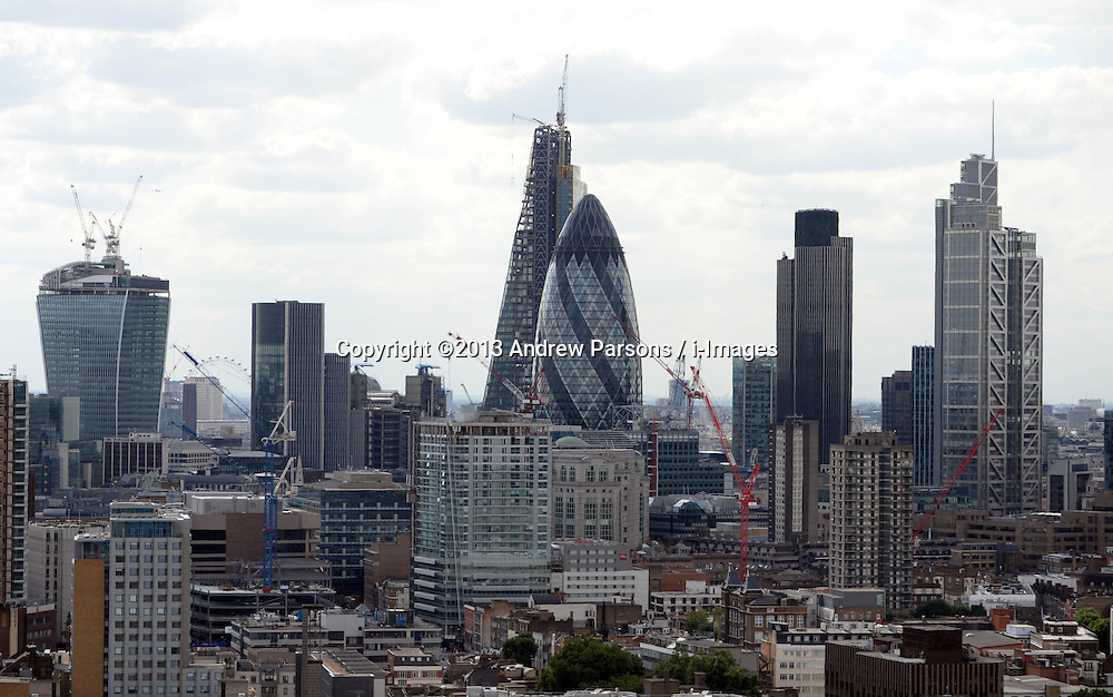 General View of the gherkin in the City of London, United Kingdom<br /> Tuesday, 6th August 2013<br /> Picture by Andrew Parsons / i-Images