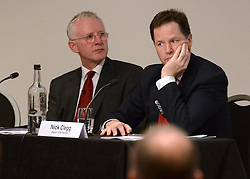 © Licensed to London News Pictures. 04/07/2012. London, UK UK. (left) Norman Lamb Employment Minister, Deputy Prime Minister Nick Clegg makes a keynote speech and participates in a question and answer session at the Employee Ownership Summit at the Institute of Charted Accountants today 4th July 2012. Photo credit : Stephen Simpson/LNP