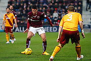 Hearts FC Midfielder Miguel Pallardo on the attack during the Ladbrokes Scottish Premiership match between Heart of Midlothian and Motherwell at Tynecastle Stadium, Gorgie, Scotland on 16 January 2016. Photo by Craig McAllister.