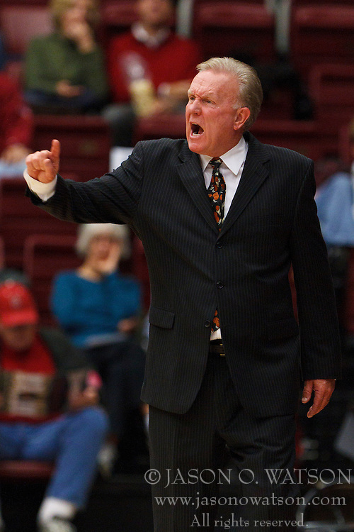 Nov 28, 2011; Stanford CA, USA;  Pacific Tigers head coach Bob Thomason on the sidelines against the Stanford Cardinal during the second half at Maples Pavilion. Stanford defeated Pacific 79-37. Mandatory Credit: Jason O. Watson-US PRESSWIRE