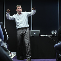 Nederland, Amsterdam , 22 november 2012..Marc Lammers hockey coach geeft inspiratie lezing aan ondernemers tijdens Ondernemers congres in de RAI..Foto:Jean-Pierre Jans