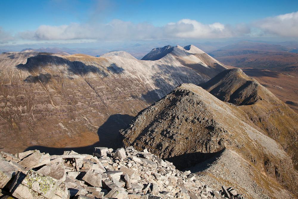 Beinn Eighe mountain ridge from Liathach, Torridon, Scotland