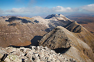 Beinn Eighe mountain ridge from Liathach, Torridon, Scotland