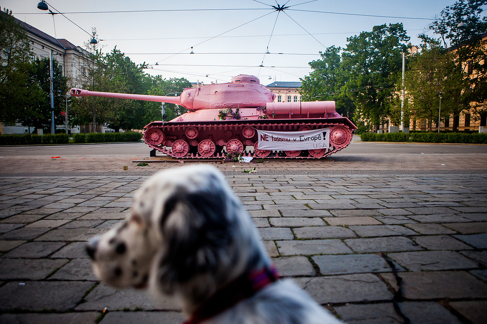 "Rudy The Therapist posing in front of the ""Pink Tank"" by Czech artist David Cerny."