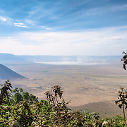 View from the rim of Ngorongoro Crater in the Ngorongoro Conservation Area, part of Tanzania's northern circuit of national parks and nature preserves.