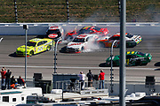 during a NASCAR Xfinity Series auto race at Kansas Speedway in Kansas City, Kan., Saturday, Oct 18, 2018. (AP Photo/Colin E. Braley)