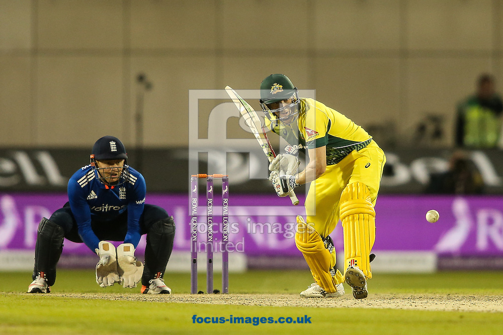 George Bailey of Australia (right) addresses the ball during the 3rd One Day International match at Old Trafford Cricket Ground, Stretford<br /> Picture by Andy Kearns/Focus Images Ltd 0781 864 4264<br /> 08/09/2015