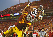September 26, 2009: Army wide receiver Ali Villanueva (82) pulls in a 5 yard touchdown reception in front of Iowa State cornerback Kennard Banks (7) during the first half of the Iowa State Cyclones' 31-10 win over the Army Black Knights at Jack Trice Stadium in Ames, Iowa on September 26, 2009.