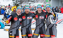 19.01.2020, Olympia Eiskanal, Innsbruck, AUT, BMW IBSF Weltcup Bob und Skeleton, Igls, Bob Viersitzer, Herren 2. Lauf, im Bild Sieger Pilot Friedrich Francesco mit Margis Thorsten, Schueller Alexander, Bauer Candy (GER) // Winner Pilot Friedrich Francesco with Margis Thorsten Schueller Alexander Bauer Candy of Germany reacts after their 2nd run of four-man Bobsleigh competition of BMW IBSF World Cup at the Olympia Eiskanal in Innsbruck, Austria on 2020/01/19. EXPA Pictures © 2020, PhotoCredit: EXPA/ Peter Rinderer