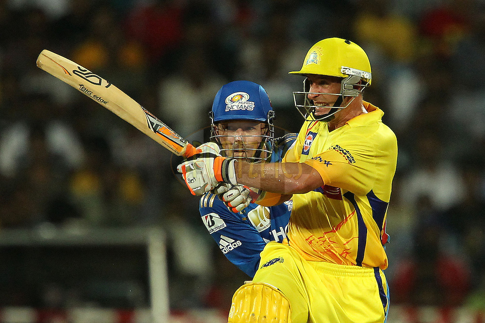 Davey Jacobs and Michael Hussey during match 3 of the NOKIA Champions League T20 ( CLT20 )between the Chennai Superkings and the Mumbai Indians held at the M. A. Chidambaram Stadium in Chennai , Tamil Nadu, India on the 24th September 2011..Photo by Ron Gaunt/BCCI/SPORTZPICS