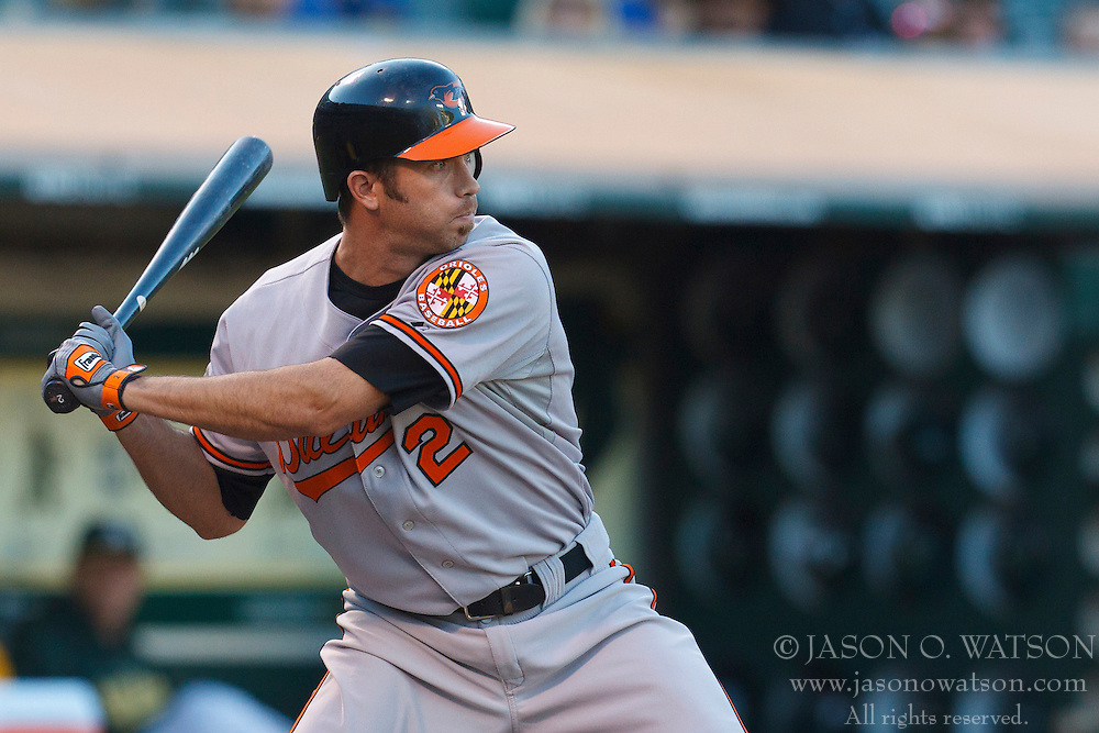 August 15, 2011; Oakland, CA, USA;  Baltimore Orioles shortstop J.J. Hardy (2) at bat against the Oakland Athletics during the first inning at O.co Coliseum.  Baltimore defeated Oakland 6-2.