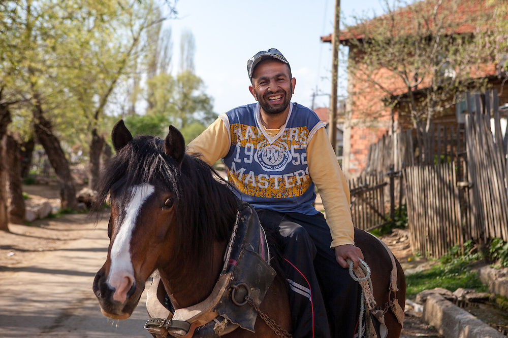 Portrait of a man and his horse at the Roma part in the city of Crnik. The name of the horse was Anastasia and she had just one eye.