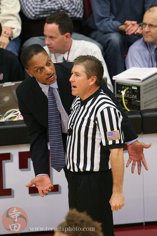 January 31, 2007; Stanford, CA, USA; Stanford Cardinal head coach Trent Johnson (left) argues with a referee during the game against the Gonzaga Bulldogs at Maples Pavilion. The Bulldogs defeated the Cardinal 90-86.