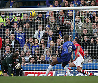 Photo: Lee Earle.<br /> Chelsea v Charlton Athletic. The Barclays Premiership. 22/01/2006. Charlton's Radostin Kishishev (R) and keeper Thomas Myhre (L) and Chelsea's William Gallas (C) watch the ball go into the net for the first goal which was claimed by Eidur Gudjohnsen.