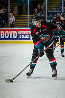 KELOWNA, CANADA - OCTOBER 4: Libor Zabransky #7 of the Kelowna Rockets warms up against the Victoria Royals on October 4, 2017 at Prospera Place in Kelowna, British Columbia, Canada.  (Photo by Marissa Baecker/Shoot the Breeze)  *** Local Caption ***