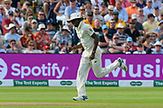 Jofra Archer of England fielding as a substitute while Chris Woakes is off the field during the International Test Match 2019 match between England and Australia at Edgbaston, Birmingham, United Kingdom on 3 August 2019.