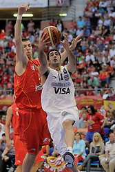 15.08.2010, Logroo, ESP, Friendly Basketball LS, Spain vs Argentia, im Bild Argentina's Paolo Quinteros (r) and Spain's Fran Vazquez during Friendly match. EXPA Pictures © 2010, PhotoCredit: EXPA/ Alterphotos/ Acero +++++ ATTENTION - OUT OF SPAIN +++++