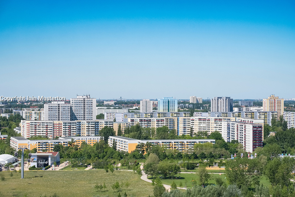 View of housing estate in Marzahn district  from viewpoint at IFA 2017 International Garden Festival (International Garten Ausstellung) in Berlin, Germany