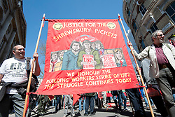 © Licensed to London News Pictures. 01/05/2013. London, UK. People gather on Clerkenwell Green, London to demonstrate for international workers day. Photo credit : David Mirzoeff/LNP