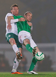 Matej Mavric Rozic of Slovenia vs Warren Feeney of Northern Ireland during EURO 2012 Quaifications game between National teams of Slovenia and Northern Ireland, on March 29, 2011, in Windsor Park Stadium, Belfast, Northern Ireland, United Kingdom. (Photo by Vid Ponikvar / Sportida)