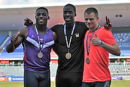 Picture by Alan Stanford/Focus Images Ltd +44 7915 056117<br /> 12/07/2013<br /> (LtoR)  Harry Aikines Aryeetey (GBR) 100m Dwain Chambers (GBR) 100m and Andrew Robertson (GBR) 100m pictured with their medals on day two of Sainsbury's British Championship at Alexander Stadium, Birmingham.