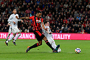 Callum Wilson (13) of AFC Bournemouth shoots at goal but is deflected by Phil Jones (4) of Manchester United during the Premier League match between Bournemouth and Manchester United at the Vitality Stadium, Bournemouth, England on 18 April 2018. Picture by Graham Hunt.