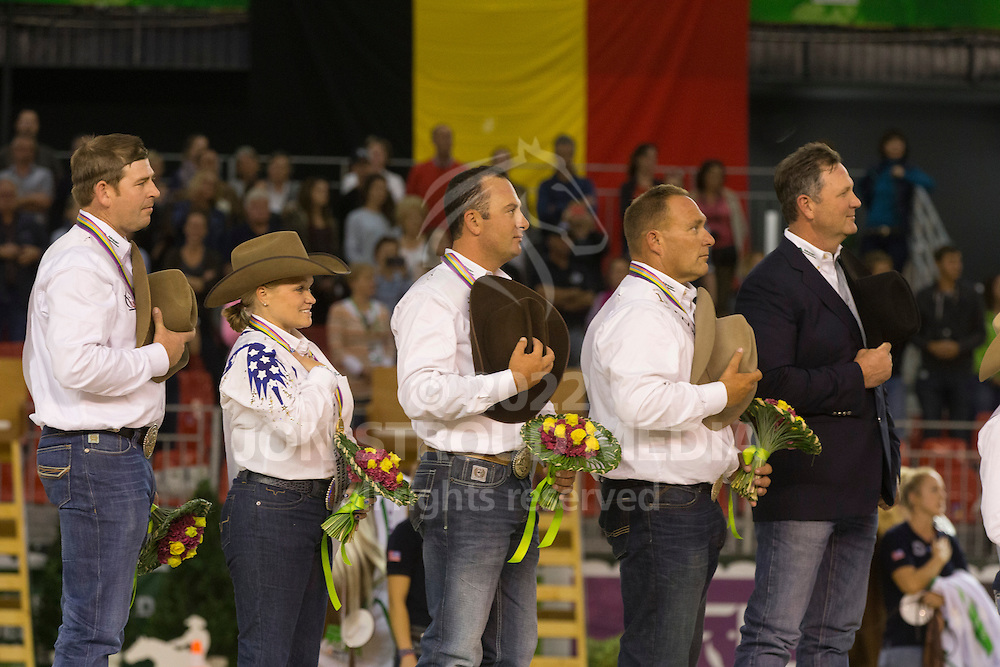 Team USA, Andrea Fappani, Jordan Larson, Mandy Mccutcheon, Shawn Flarida - Team Competition and 1st individual qualifying  - Alltech FEI World Equestrian Games&trade; 2014 - Normandy, France.<br /> &copy; Hippo Foto Team - Dirk Caremans<br /> 25/06/14