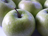 apple; green; granny smith, fresh, produce, fruit; food; kitchen; cooking; cookery; item; object; concept, detail, closeup
