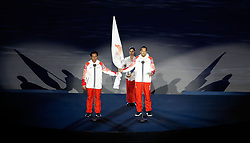 JAKARTA, Aug. 18, 2018  Referee and athletes representatives take an oath at the opening ceremony of the 18th Asian Games in Jakarta, Indonesia, Aug. 18, 2018. (Credit Image: © Wang Lili/Xinhua via ZUMA Wire)