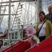 Three Generations, descend from a visit abord Lord Nelson, Tall Ships Festival 2013, Hobart, Tasmania, Australia