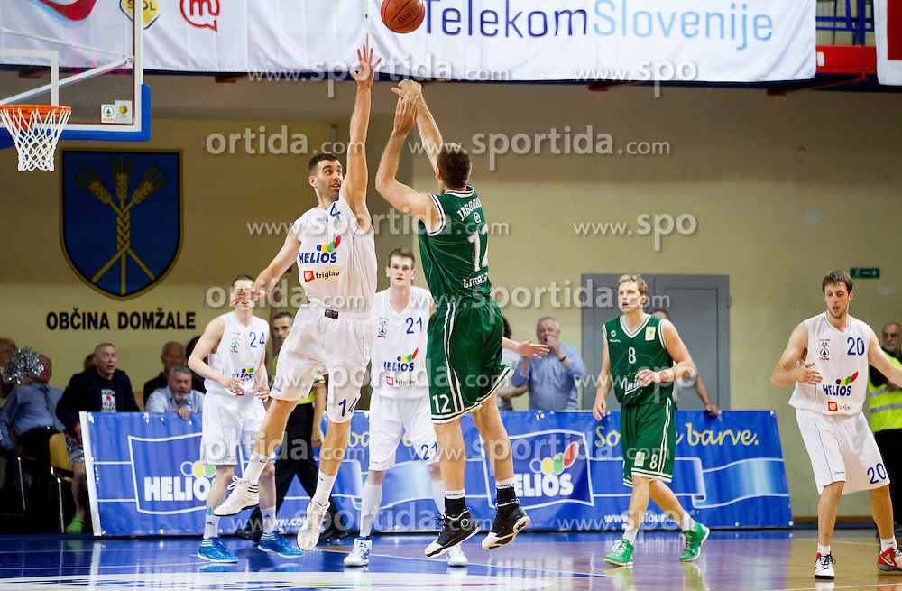 Drazen Bubnic vs Goran Jagodnik during basketball match between KK Helios Domzale and KK Union Olimpija Ljubljana in 2nd semifinal of Telemach Slovenian Champion League 2011/12, on May 10, 2012 in Arena Komunalni center, Domzale, Slovenia. Union Olimpija defeated Helios 81-78 after overtime and qualified to finals. (Photo by Vid Ponikvar / Sportida.com)
