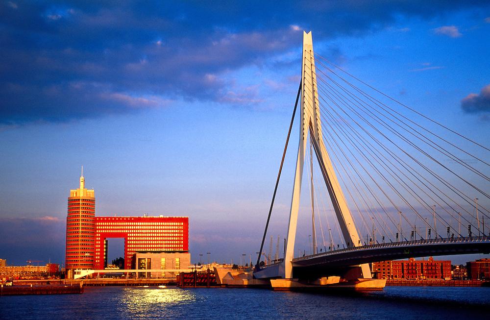 Erasmusbrug (bridge) across the Nieuwe Maas River, Rotterdam, the Netherlands