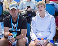 FEATURE-AUSOPEN, RUDOLF MOLLEKER(GER) und Trainer Jan Velthuis auf der Zuschauer Tribuene.<br /> <br /> Tennis - Australian Open 2018 - Grand Slam / ATP / WTA -  Melbourne  Park - Melbourne - Victoria - Australia  - 16 January 2018.