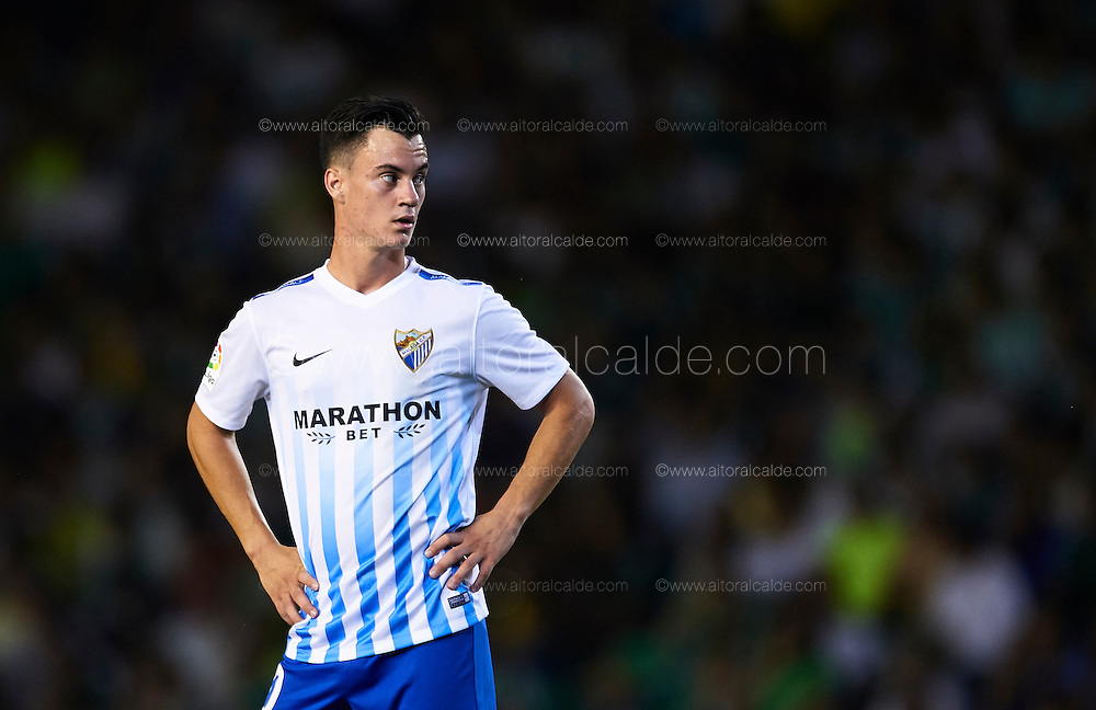 "SEVILLE, SPAIN - SEPTEMBER 23:  Juan Pablo Anor ""Juanpi"" of Malaga CF looks on during the match between Real Betis Balompie vs Malaga CF as part of La Liga at Benito Villamarin stadium on September 23, 2016 in Seville, Spain.  (Photo by Aitor Alcalde Colomer/Getty Images)"