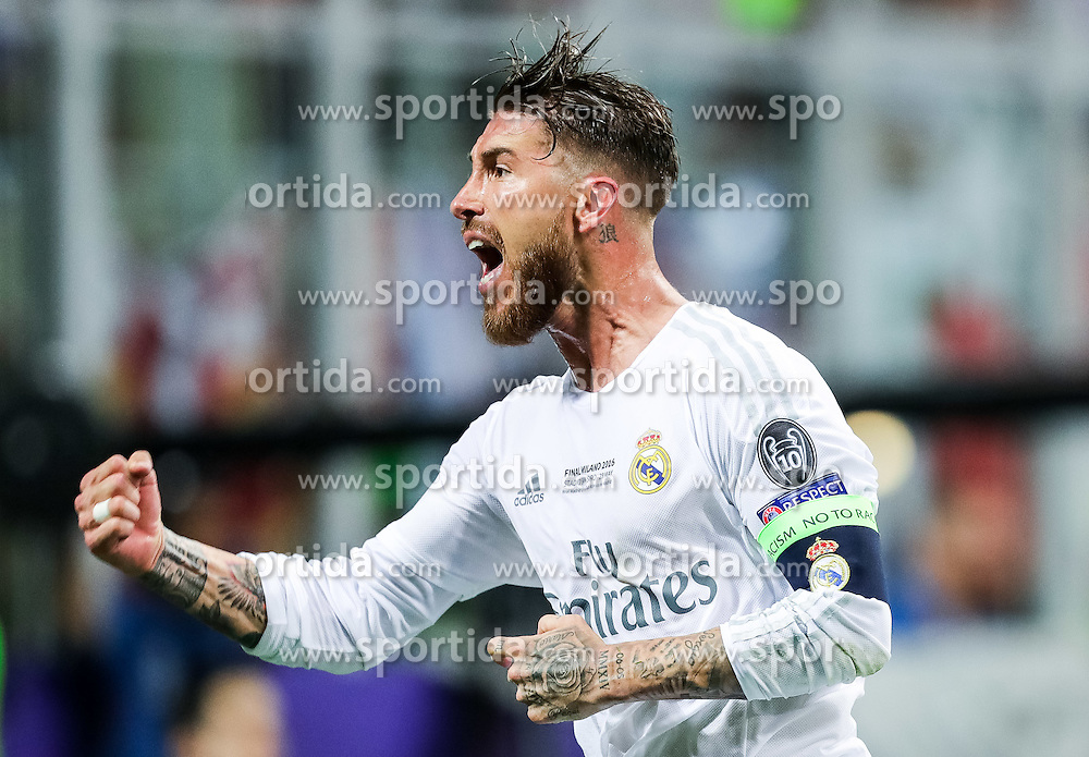 Sergio Ramos of Real Madrid celebrates after he scored first goal for Real during football match between Real Madrid (ESP) and Atlético de Madrid (ESP) in Final of UEFA Champions League 2016, on May 28, 2016 in San Siro Stadium, Milan, Italy. Photo by Vid Ponikvar / Sportida