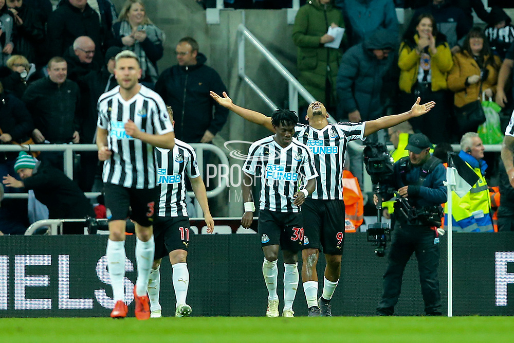 Jose Salomon Rondon (#9) of Newcastle United celebrates Newcastle United's second goal (2-2) during the Premier League match between Newcastle United and Liverpool at St. James's Park, Newcastle, England on 4 May 2019.