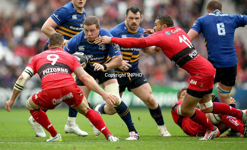 European Rugby Champions Cup Semi-Final, Stade V&eacute;lodrome, Marseille, France 19/4/2015<br /> RC Toulon vs Leinster<br /> Toulon's Sebastien Tillous-Borde and Bryan Habana tackle Sean Cronin of Leinster<br /> Mandatory Credit &copy;INPHO/James Crombie