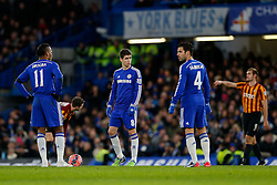 Didier Drogba and Oscar of Chelsea look dejected after Bradford City score their 3rd goal to come back from 2-0 down - Photo mandatory by-line: Rogan Thomson/JMP - 07966 386802 - 24/01/2015 - SPORT - FOOTBALL - London, England - Stamford Bridge - Chelsea v Bradford City - FA Cup Fourth Round Proper.