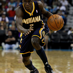 April 3, 2011; New Orleans, LA, USA; Indiana Pacers point guard Darren Collison (2) against the New Orleans Hornets during the fourth quarter at the New Orleans Arena. The Hornets defeated the Pacers 108-96.  Mandatory Credit: Derick E. Hingle
