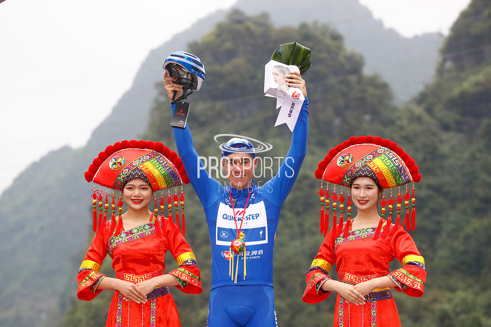 Podium Fabio Jakobsen (NED - QuickStep - Floors) blue leader jersey during the Tour of Guangxi 2018, stage 4 cycling race, Nanning - Nongla Scenic Area (152,2 km) on October 19, 2018 in Nongla, China - Photo Luca Bettini / BettiniPhoto / ProSportsImages / DPPI