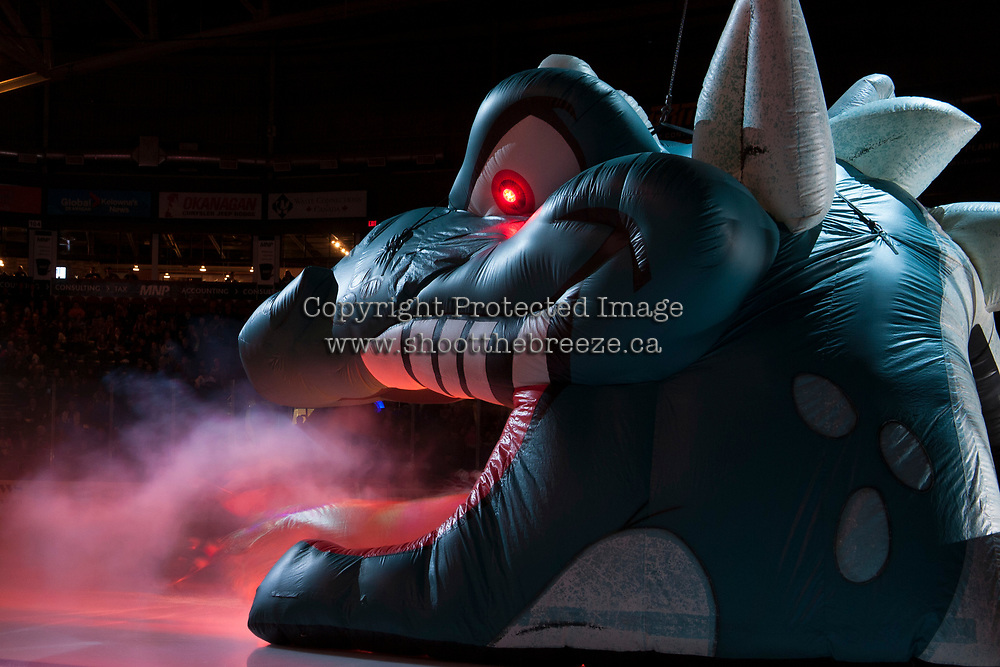 KELOWNA, CANADA - FEBRUARY 24: The Kelowna Rockets enter the ice against the Kamloops Blazers  on February 24, 2018 at Prospera Place in Kelowna, British Columbia, Canada.  (Photo by Marissa Baecker/Shoot the Breeze)  *** Local Caption ***
