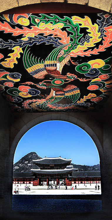 Beautifully painted with highly coloured pheasents a gateway to Gyeongbokgung Palace which is also called the Northern Palace which was built in 1395, in Seoul, South Korea.
