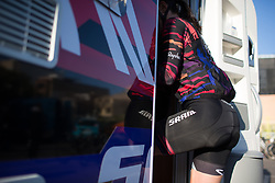 Katarzyna Niewiadoma (POL) of CANYON//SRAM Racing steps into the team camper after Stage 2 of the Setmana Ciclista Valenciana - a 115 km road race, between Castello and Vila-Real on February 23, 2018, in Valencia, Spain. (Photo by Balint Hamvas/Velofocus.com)